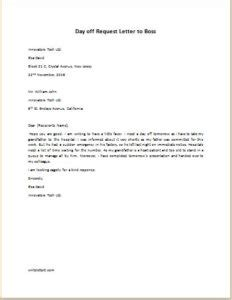 thank you letter to boss last day day off request letter to boss writeletter2 com sample thank you letter to employer 18 download free