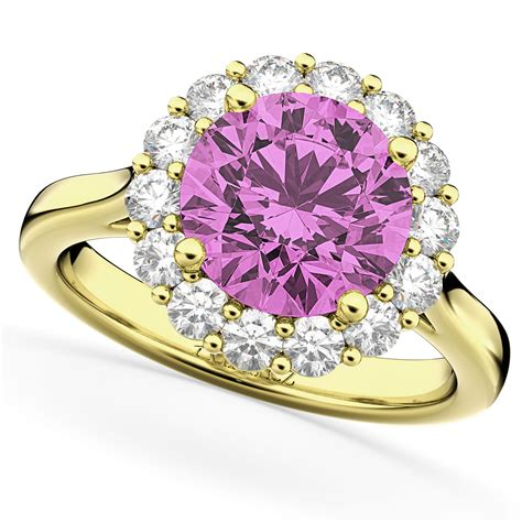 Pink Ruby 10 45ct halo pink sapphire engagement ring 14k
