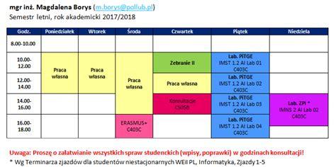 Mba Warszawa Politechnika Plan Zajec by Mgr Inż Magdalena Borys Instytut Informatyki