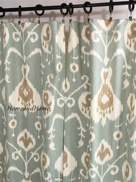 Blue Ikat Curtains Ikat Curtains Spa Blue Curtains Drapery Panels Window
