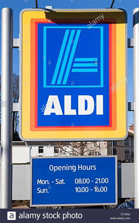 aldi opening times aldi supermarket sign with opening hours abergavenny