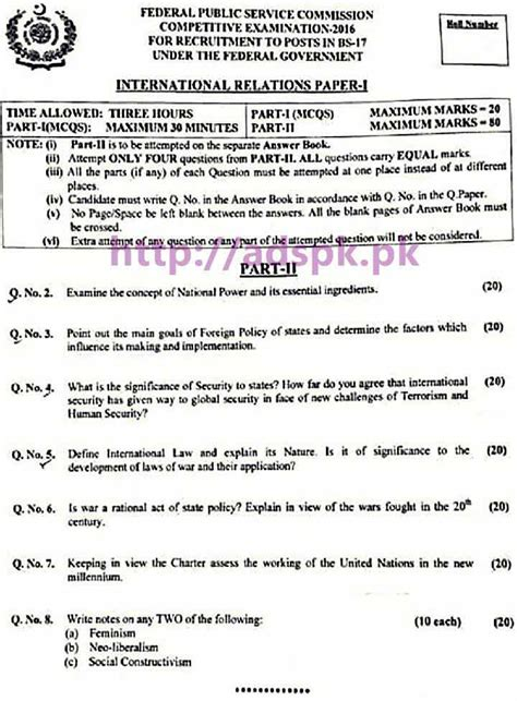 International Relations Essays by Fpsc Css 2016 International Relations Paper I 2016 Preparation For Next Css 2017 By