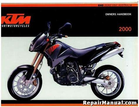 2000 Ktm Duke 2000 Ktm 640 Duke Motorcycle Owners Handbook
