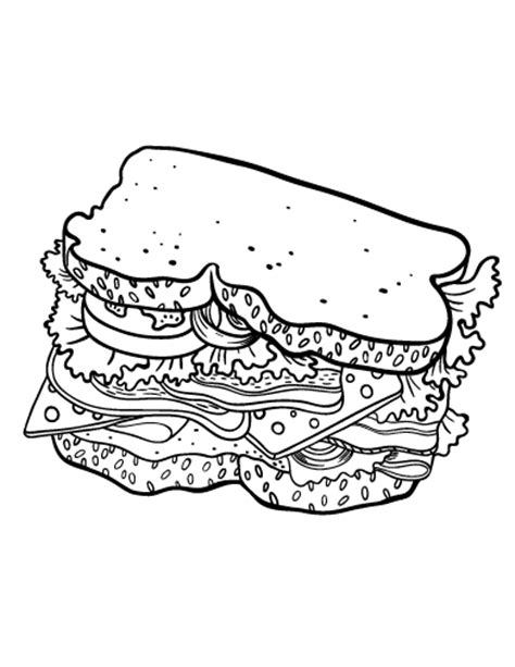 printable sandwich coloring page free pdf download at