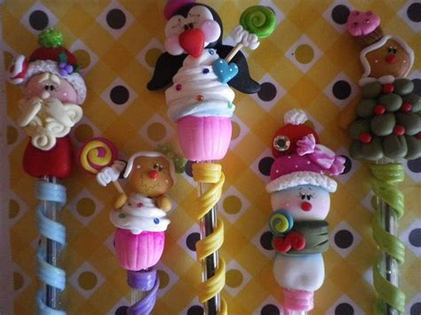 Pensil Natal decorated pens boligrafos decorados crafts clay pasta and polymers