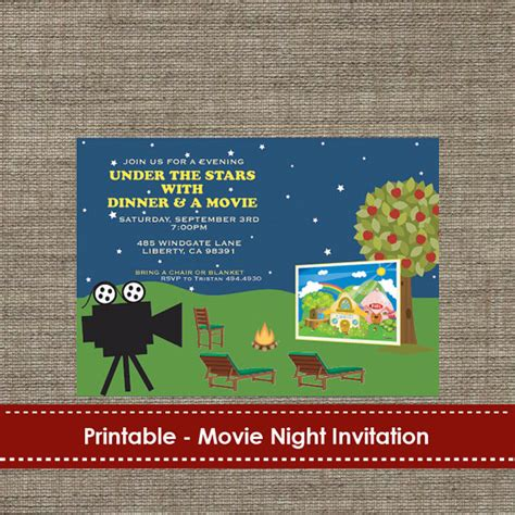 backyard movie night invitations backyard under the stars movie night invitation diy