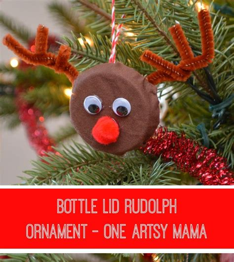 artsy ornaments bottle lid rudolph ornament one artsy lines across