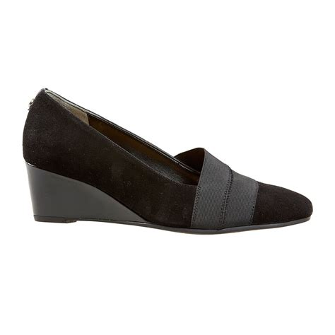 dal shoes candor wide fitting wedges in black suede