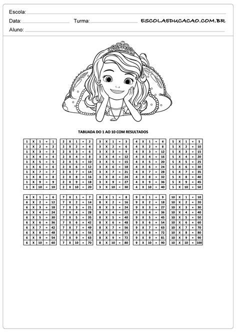 Atividade de tabuada para imprimir multiplicação de