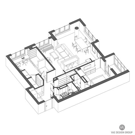 architectural floor plan 2 modern apartments under 1200 square feet area for young
