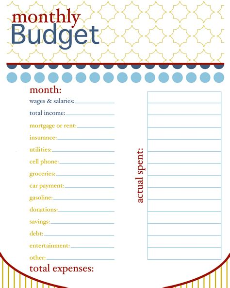 printable month at a glance budget calendar template 2016