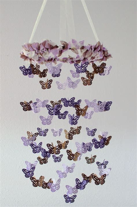 Butterfly Mobile For Crib by Butterfly Nursery Mobile Purple Lavender And Brown