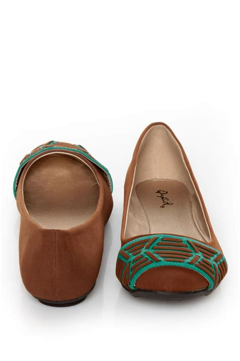 Flat Shoes 193 qupid thesis 193 rust nubuck two tone toe band ballet