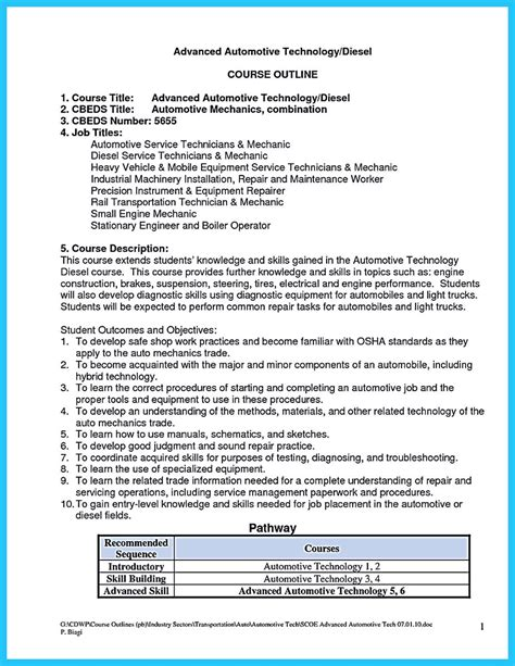 Auto Mechanic Resume by Writing Your Great Automotive Technician Resume