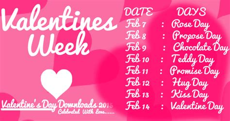 valentin day list valentines day week list 2018 dates schedule timetable