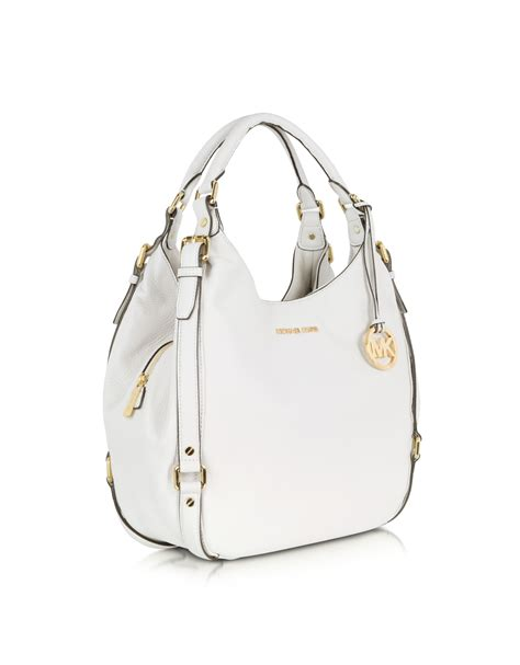 Michael Kors Bedford Optic White michael kors optic white bedford leather shoulder tote in white lyst
