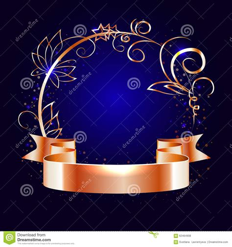 gold decorative elements vector gold ribbon and round frame with decorative elements stock