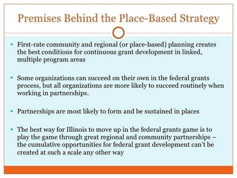 A Place Based On The Place Based Approach For Grant Funding