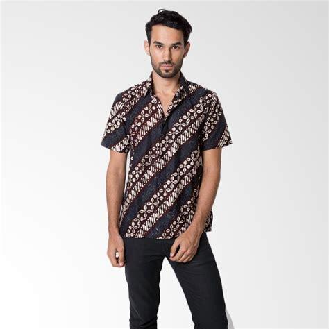 Flora Batik Kemeja Batik Sogan Kupu Merah Jual Kemeja Batik Baju Etnik Pria Harga Terbaik