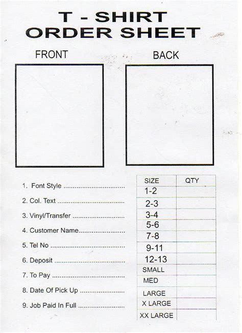 Tshirt Order Form Template Business Shirt Order Form Template