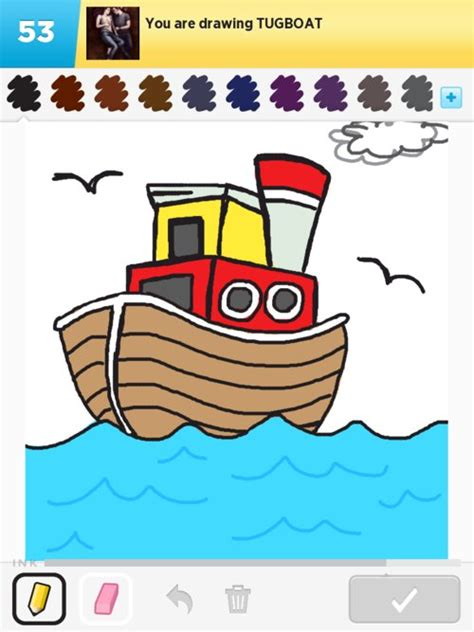 tugboat drawing tugboat drawings how to draw tugboat in draw something