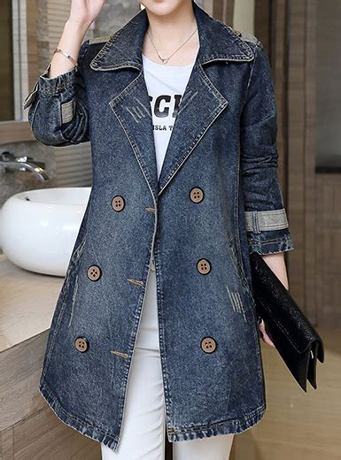 Breasted Coat With Sash s breasted trench coat style denim jacket