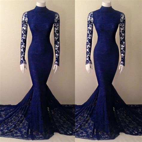 Bridesmaid Dress Fitting Near Me - navy blue lace mermaid high neck prom dress with