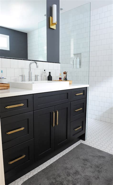 Bathroom Mirror Ideas Pinterest black bathroom vanity with gold hardware vintage