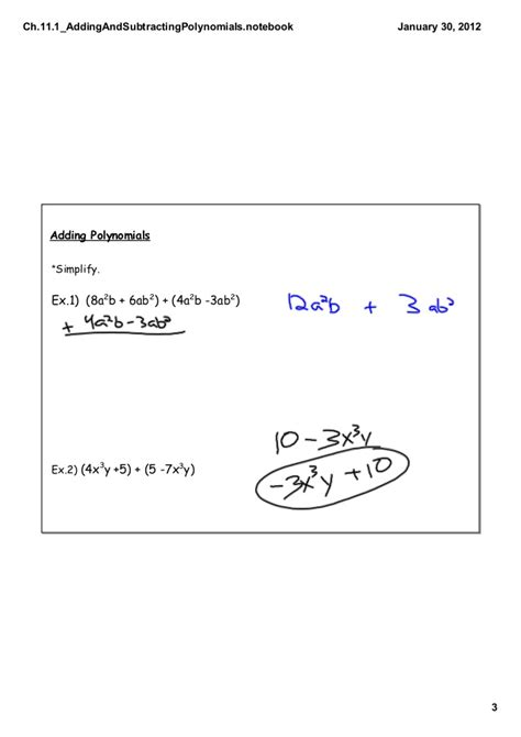 Addition And Subtraction Of Polynomials Worksheet by Addition And Subtraction Of Polynomials Powerpoint Ppt