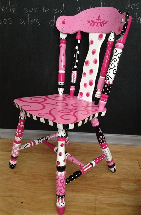 painted chair ideas quot flirty gurtie quot a pink black white painted chair