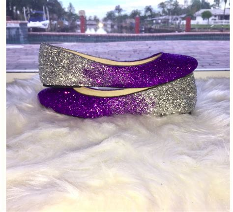 sparkly wedding shoes flats sparkly purple silver glitter ballet flats wedding