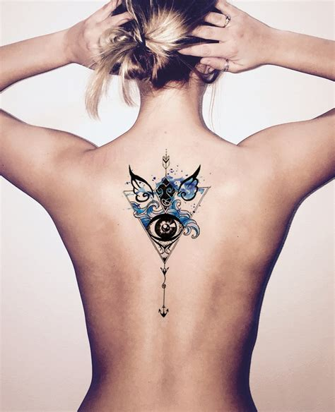 Devilin Watercolor Evil Eye Arrow Temporary Tattoo Mybodiart Eye Of The Lotus Tattoos 2