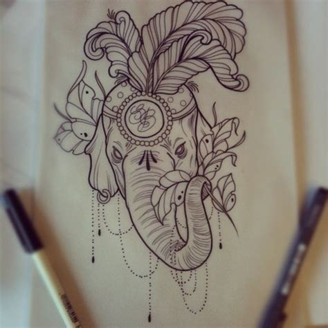 elephant tattoo flash an elephant face tattoo drawing real photo pictures