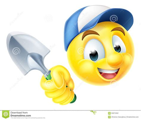 gardener emoticon emoji with trowel stock vector image