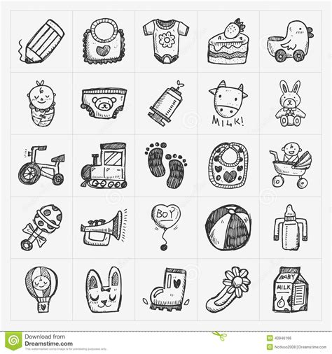 doodle icons free vector doodle baby icon sets stock vector image 40946166
