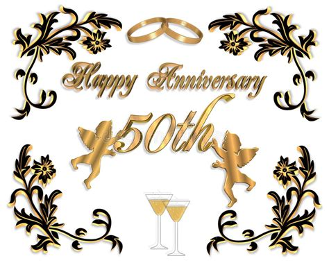 50th Wedding Anniversary Invitation 3d Stock Illustration Illustration Of Card Dimensional Clipart 50th Wedding Anniversary