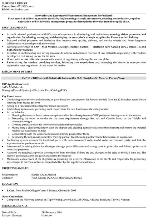 Procurement Resume Format by Procurement Manager Resume Sle The Best Letter Sle