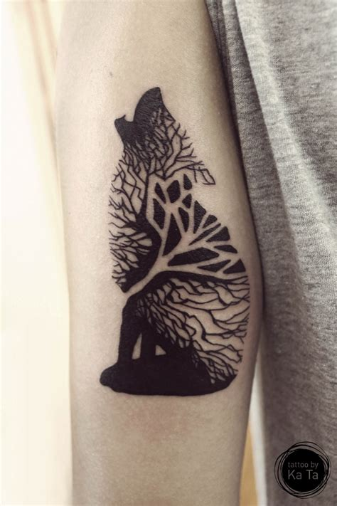 wolf arm tattoo tree wolf geometric arm on tattoochief
