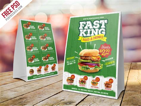 menu tent card template free psd fast food menu table tent template psd by psd