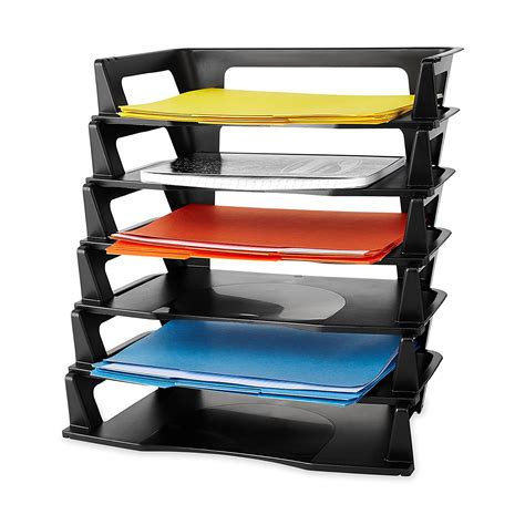 stackable desk trays plastic letter tray 6 pack paper holder organizer self