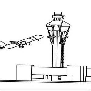 Airport Tower Coloring Page Sketch sketch template