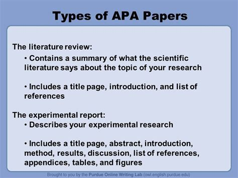 Types Of Research Papers Topics by Apa Formatting And Style Guide Ppt