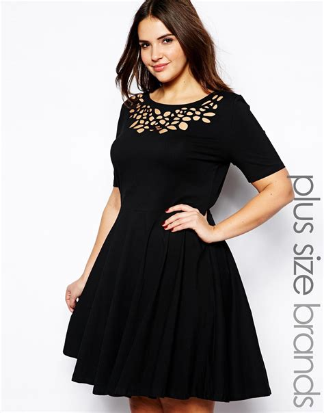 Black Dress Size S lyst ax plus size laser cut skater dress in black
