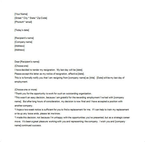 notice resignation letter template word