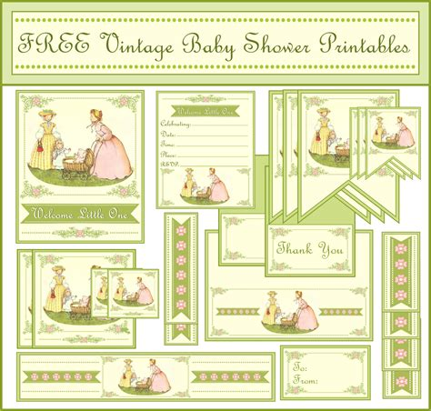 printables for baby shower free vintage baby shower printables from printabelle