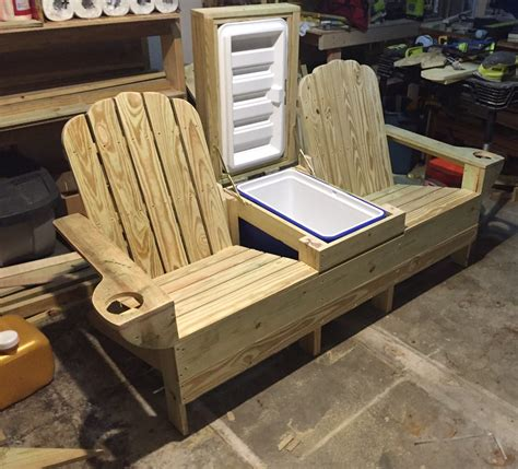 bench cooler adirondack bench w built in cooler ready for beer and ice