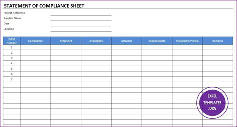 compliance statement template statement of compliance template excel templates excel