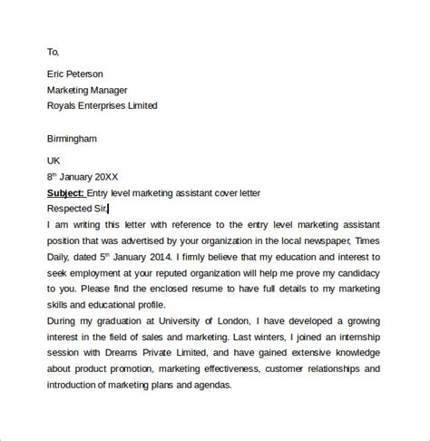 cover letter for marketing position entry level entry level cover letter 7 free sles exles