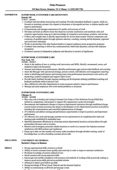 Telephone Center Supervisor Resume by Supervisor Customer Care Resume Sles Velvet