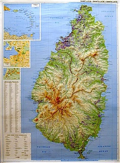 printable road map of st lucia st lucia from caribbean on line